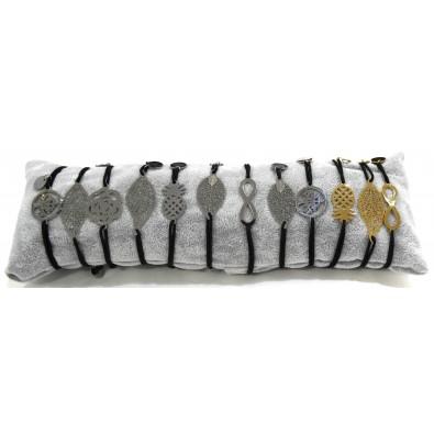 Lot de 12 bracelets acier chirurgica avec motifs variés BRAF155
