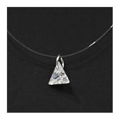 Collier fil de pêche et zirconium triangle COFP006