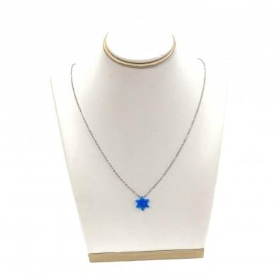 Collier acier chirurgical femme COAC280 étoile en opale
