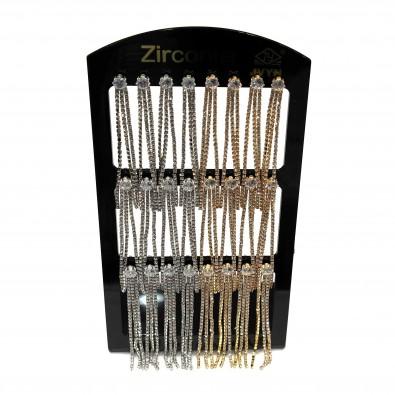 Plaquette 12 paires boucles d'oreilles zirconium BOPL020-3