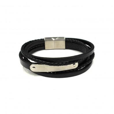 Bracelet acier et cuir homme BRAH211