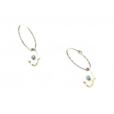 Boucles d'oreilles acier BOAC095 main de fatma