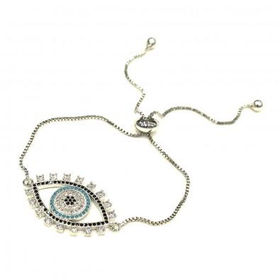 Bracelet BRAF571 plaqué or ou argent oeil contour noir