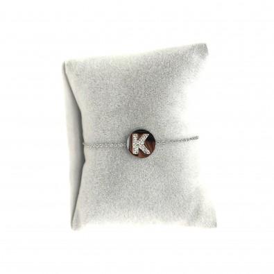 Collier acier lettre initiale COAC333 lettre K