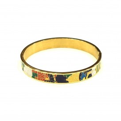 Bracelet acier chirurgical BRAF593 couleur peinture ton bleu jaune rouge