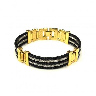 Bracelet acier et cuir homme BRAH276