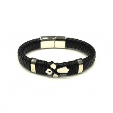 Bracelet acier et cuir homme BRAH278