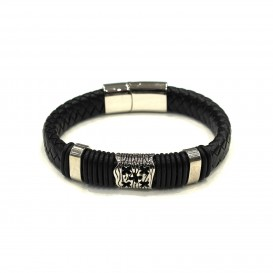 Bracelet acier et cuir homme BRAH296