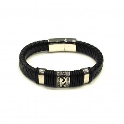 Bracelet acier et cuir homme BRAH297