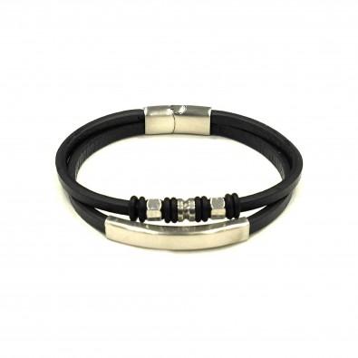 Bracelet acier et cuir homme BRAH300