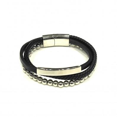 Bracelet acier et cuir homme BRAH353