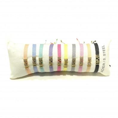Lot de 10 bracelets en acier LOVE LB001