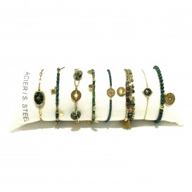 Lot de 8 bracelets acier assortis LB009