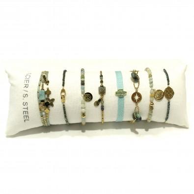 Lot de 8 bracelets acier assortis LB010