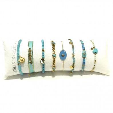 Lot de 8 bracelets acier assortis LB012