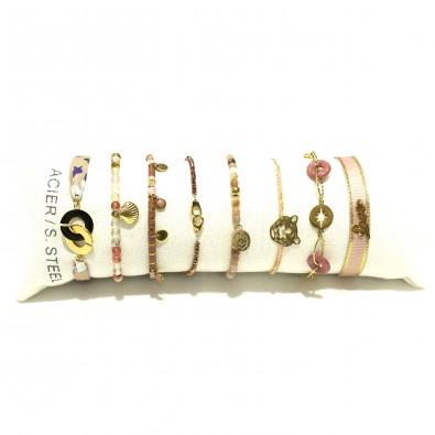 Lot de 8 bracelets acier assortis LB013