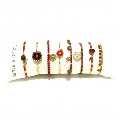 Lot de 8 bracelets acier assortis LB014