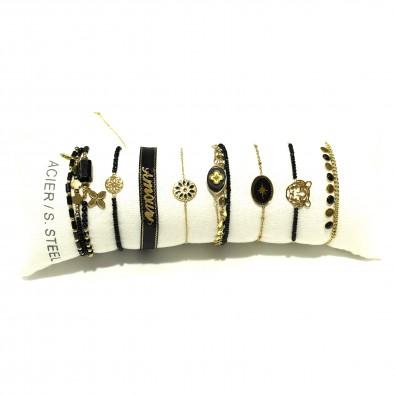 Lot de 8 bracelets acier assortis LB015