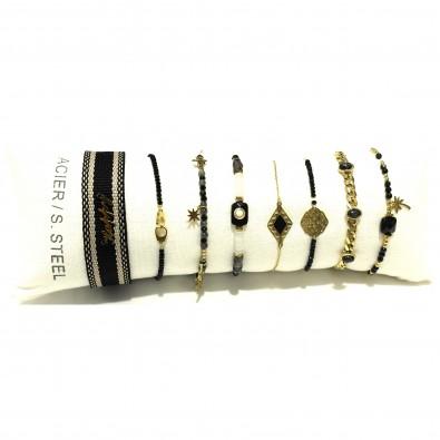 Lot de 8 bracelets acier assortis LB016