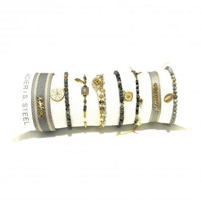 Lot de 8 bracelets acier assortis LB017