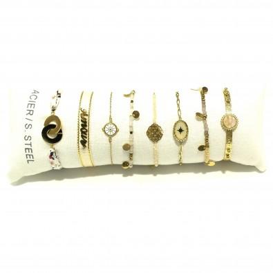 Lot de 8 bracelets acier assortis LB018