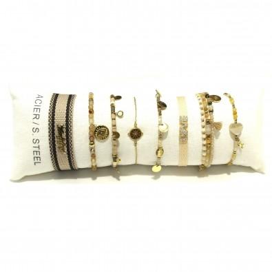 Lot de 8 bracelets acier assortis LB019