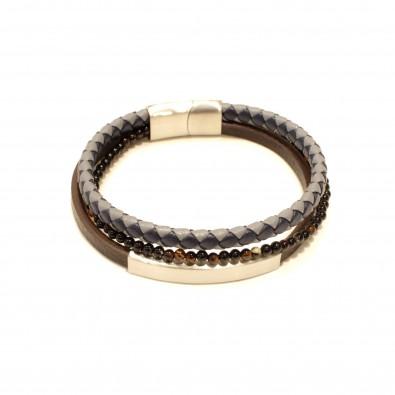 Bracelet acier et cuir homme BRAH411