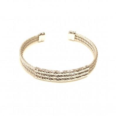 Bracelet acier et cuir homme BRAH416