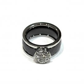 Ring Ceramic steel and rhinestone BAC017NO