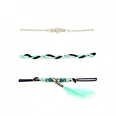 Lot de 3 bracelets fil et métal LOBR008