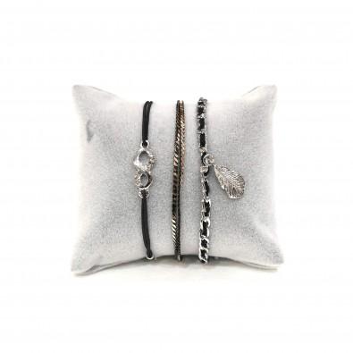 Lot de 3 bracelets fil et métal LOBR009